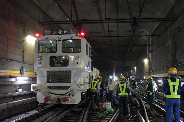 東京メトロ夜間作業の様子を報道陣に公開