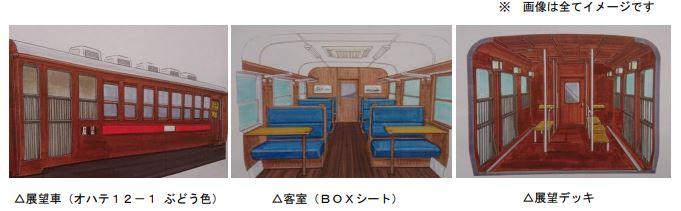 東武鉄道:11月4日(木)から、SL大樹の客車として 12系「展望車」を2両(ぶどう色・青色)導入!